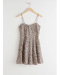 & Other Stories Spaghetti Strap Mini Skater Dress - Natural