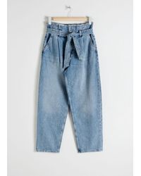 & Other Stories High Belted Organic Cotton Jeans - Blue