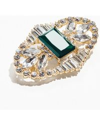 & Other Stories Crystal Brooch With Large Gem - Green