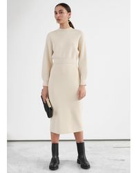& Other Stories Fitted Knitted Pencil Midi Skirt - Natural