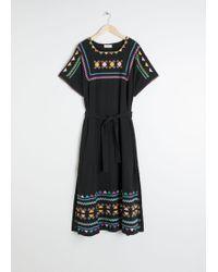 & Other Stories Embroidered Belted Kaftan Dress - Black