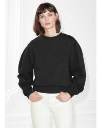 & Other Stories Puff Sleeve Cotton Sweatshirt - Black
