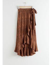 & Other Stories Ruffle Wrap Maxi Skirt - Orange