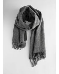 & Other Stories Wool Fringed Blanket Scarf - Grey