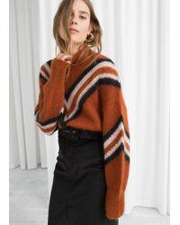 & Other Stories - Mock Neck Varsity Stripe Sweater - Lyst