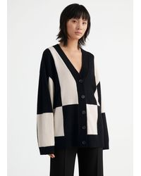 & Other Stories Oversized Colour Block Cardigan - Black