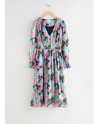 & Other Stories Pleated Smock Midi Dress - Blue