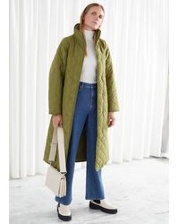 & Other Stories Belted Quilted Coat - Green