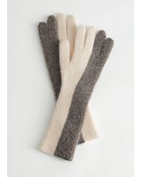 & Other Stories Knitted Duo Tone Gloves - Natural