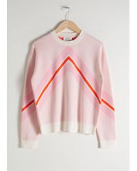 & Other Stories Varsity Knit Jumper - White