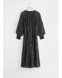 & Other Stories Balloon Sleeve Midi Dress - Black