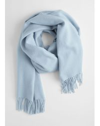 & Other Stories Wool Fringed Blanket Scarf - Blue