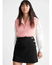 & Other Stories Gold Button Mini Skirt - Black