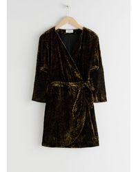 & Other Stories Velvet Wrap Dress - Black