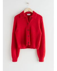 & Other Stories Heart Button Alpaca Blend Cardigan - Red