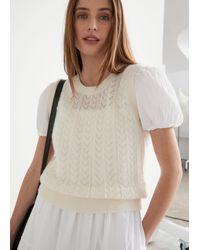 & Other Stories Alpaca Blend Pointelle Knit Vest - White