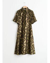 & Other Stories - Metallic Jacquard Shirt Dress - Lyst