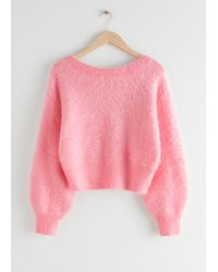 & Other Stories Relaxed Fuzzy V-cut Back Sweater - Pink
