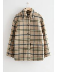 & Other Stories Oversized Wool Blend Jacket - White