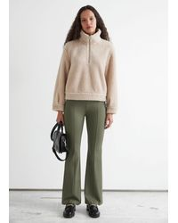 & Other Stories Faux Shearling Half-zip Jumper - Natural