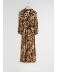 & Other Stories Long Sleeve Leopard Print Jumpsuit - Natural