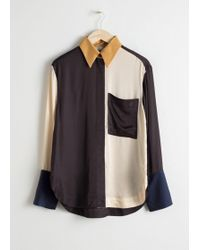 & Other Stories - Satin Colourblock Button Up - Lyst
