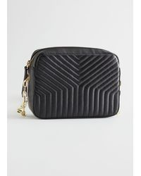 & Other Stories Chain Strap Embossed Leather Bag - Black