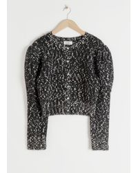 & Other Stories Puff Sleeve Bouclé Cropped Cardigan - Black