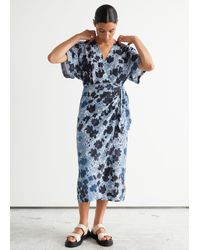 & Other Stories Printed Midi Wrap Dress - Blue