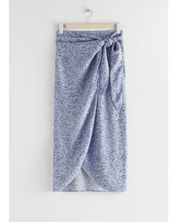 & Other Stories Scarf Tie Maxi Wrap Skirt - Blue
