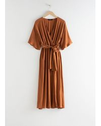 & Other Stories Side Slit Midi Wrap Dress - Orange