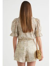 & Other Stories Floral Print Shorts - Natural
