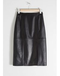 & Other Stories Midi Leather Pencil Skirt - Black