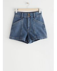 & Other Stories High Waisted Denim Shorts - Blue