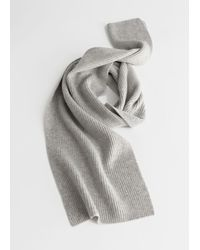 & Other Stories Cashmere Ribbed Knit Scarf - Grey