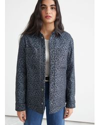 & Other Stories Oversized Cropped Jacquard Overshirt - Blue