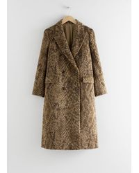 & Other Stories Double Breasted Snake Print Coat - Yellow