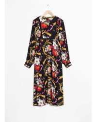 & Other Stories Flower Bouquet Print Dress - Black