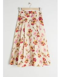 & Other Stories A-line Linen Blend Floral Skirt - White