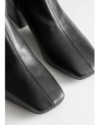 & Other Stories Square Toe Leather Boots - Black