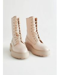 & Other Stories Chunky Platform Leather Boots - Natural