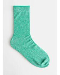 & Other Stories Glitter Ankle Socks - Green