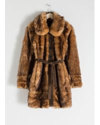& Other Stories Belted Faux Fur Coat - Natural
