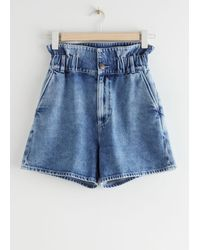 & Other Stories Paperbag Waist Jeans Shorts - Blue