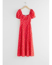 & Other Stories Flowy Puff Sleeve Midi Dress - Red