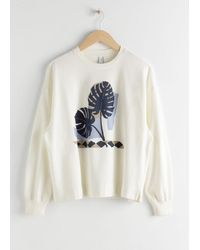 & Other Stories Cotton Graphic Print Jumper - White