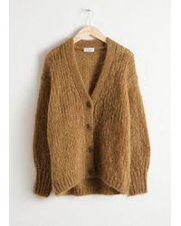 & Other Stories Oversized V-neck Cardigan - Yellow