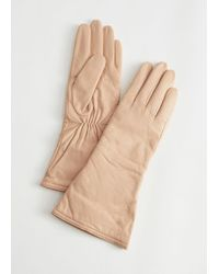& Other Stories Fitted Leather Gloves - Natural
