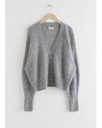& Other Stories Alpaca Blend Puff Sleeve Cardigan - Gray