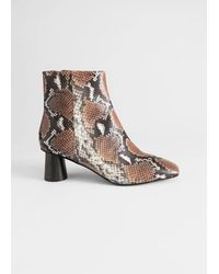 & Other Stories Wooden Heel Snake Ankle Boots - Yellow